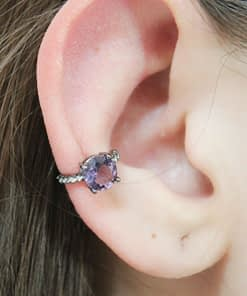 Piercing Fake Grafite Fino Cristais Roxo