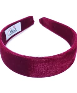 Tiara Lisa De Veludo Larga Camila 30mm - Bordo